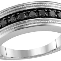 Sterling Silver Mens Round Black Colored Diamond Milgrain Wedding Anniversary Band Ring 1/2 Cttw 91571