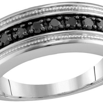 sterling silver mens round black colored diamond milgrain wedding anniversary band ring 12 cttw - Mens Black Diamond Wedding Ring
