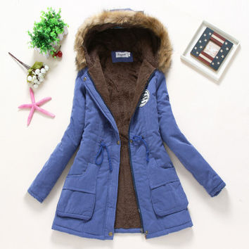 Peacock Blue Military Hooded Cotton Coat Winter Jacket Coats Women