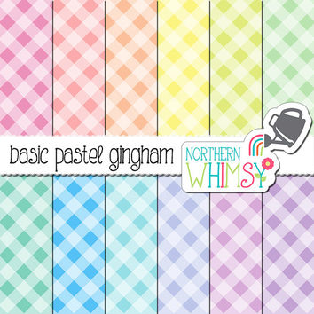 Gingham Digital Paper - diagonal pastel gingham patterns in pink, peach, yellow, mint, blue & lavender - scrapbook paper - commercial use