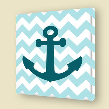 Nautical Room Decor Stretched Canvas Print Ship Anchor Wall Art Chevron Pattern VWAQ-A147