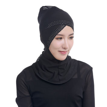 Womens Full Cover Muslim Hijab Woman Head Cover Scarf Rhinestone Lace Islamic Turban Beanies Lady Underscarf Ninja Hijab SM6