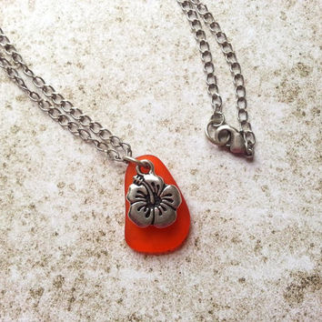 Orange Hibiscus Flower Charm Necklace, Eco Friendly Jewelry with Recycled Glass Pendant