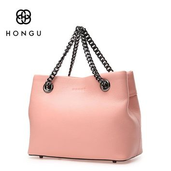 HONGU 2017 Women Handbags Totes Shoulder Crossbody Bags Fashion Simple Solid Chain Bag Genuine Cow Leather Female Handbag Zipper