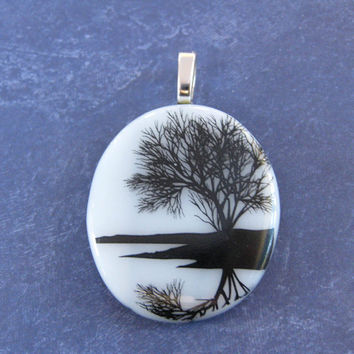 Tree of Life Pendant, Omega Slide, Black and White Jewelry, Tree Jewelry on Etsy - Sycamore - 4102 -3