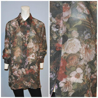Vintage 1990's Oversized Semi-Sheer Floral Print Tunic Blouse Button Down Shirt Women's Size Medium The Limited Bohemian 90's Blouse Pattern