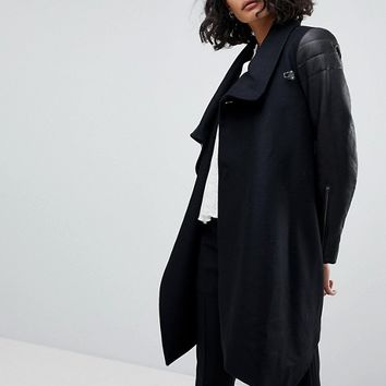 AllSaints Pea Coat with Leather Sleeves at asos.com