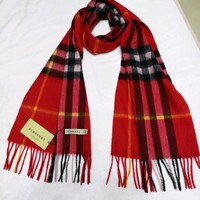 *BURBERRY 100% CASHMERE AUTHENTIC SCARF red big grid WITH TAG**