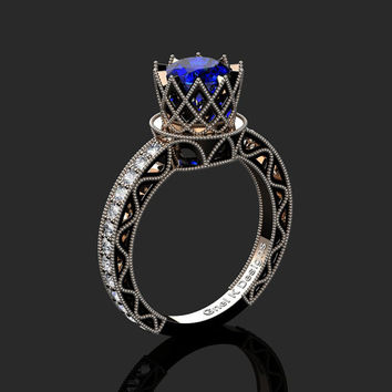 Classic Armenian 14K Rose Black Gold 1.0 Ct Blue Sapphire Diamond Engagement Ring R782-14KRBGDBS