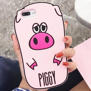 Cute cartoon pink pig mobile phone case for iPhone X 7 7plus 8 8plus iPhone6 6s plus -171123