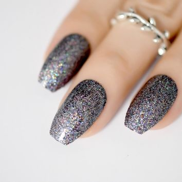 Holo Ballerina Coffin Nails Chrome Black Glitter False Nail Colorful Shimmer Wear Fake Nails Tips for Bride Daily Office