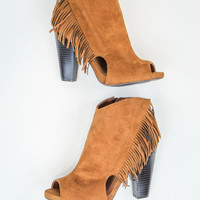 Fringe Peep Toe Bootie in Rust