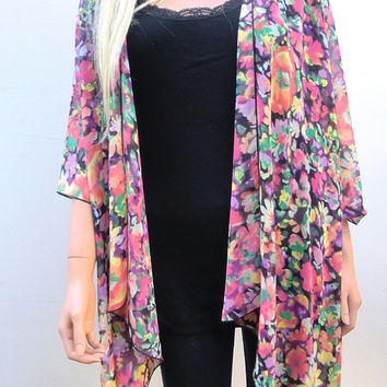 Floral Kimono cardigan Black red yellow green lilac chiffon-Layering piece-Many colors