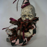 """Creepy Doll """"Buddy Child"""" One of A Kind Altered Art Doll Freak Ghoulish Haunted Zombie Scary Odd Weird L.Cerrito Salvage Artist Doll"""