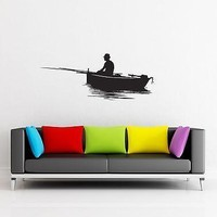 Wall Stickers Fishing  Fish Relaxing for Garage z1278