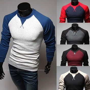 Mens Trendy Raglan Baseball Style Long Sleeve Shirt