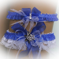 Lace Wedding Garter Set with Crystal Brooch, Dark Blue Garter, Bridal Garter, Vintage Garter, Stretch Garter, Crystal Garter, Prom Garter