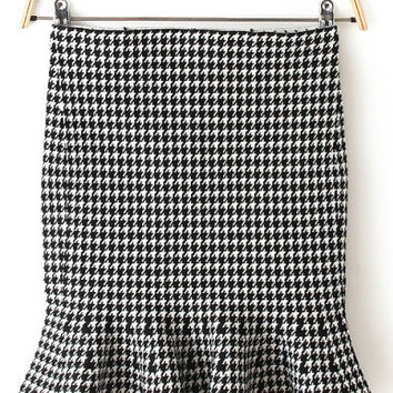 Houndstooth Ruffled Skirt
