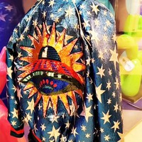 Women Fashion Multicolor Planet Embroidery Sequin Baseball Clothes Long Sleeve Zip Cardigan Jacket Coat