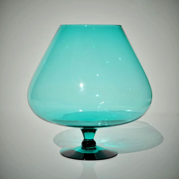 "Large 8"" Mid Century Modern Blue Glass Brandy Snifter, Hand Blown Vintage Murano Empoli Oversized Goblet Vase, Turquoise Aqua, Retro Mad Men"