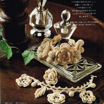 KazeKobo Crochet Lace - Japanese Crocheting Pattern Book for Women - Kaze Kobo -  Irish Motif Accessories & Bag - B1017
