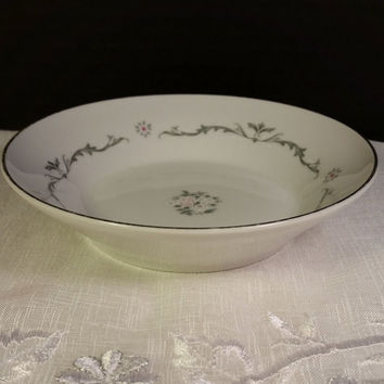 Fruit Dessert Sauce Bowl Petite Bouquet Pattern, Made In Japan, Fine China Signature Collection Pink & White Flowers Gray Scroll Shabby Chic