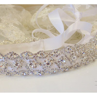 Bridal sash, crystal sash, ribbon sash, vintage inspired rhinestone belt, wedding accessory, Bridal belt, bridesmaid sash