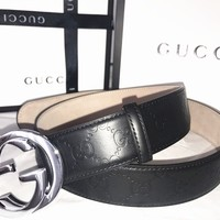 Gucci Guccissima Black Leather Belt With Silver G Buckle Size 100CM Waist 34-36
