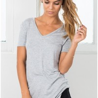 Just A Girl tee in grey marle