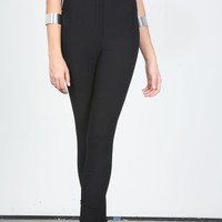 American Apparel High Waisted Black Nylon Skinny Pants
