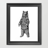 Ornate Grizzly Bear Framed Art Print by BioWorkZ