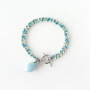 Small Raw Aquamarine Light Blue Stone Bracelet with Pattern Chain Link, March Birthstone Jewelry