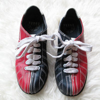 Wms Vintage Bowling Leather Red White Blue Shoes Size 6
