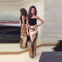 Shiny Sequin Gold Skirt Custom Made Floor Length Long Maxi Skirt European Style Sexy Mermaid Sheath Skirts Women