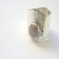 Unique Silver Organic Amethyst Adjustable Ring OOAK by mehru