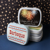 Fireworks Personalized Holiday Mint Tins for Party Favors, Cookout, Barbecue, or other events