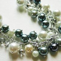 Gray + White Pearl Crystal Necklace ~ Bridesmaid or Flower Girl Jewelry