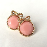 Belle Bow Stud Earrings - Pink