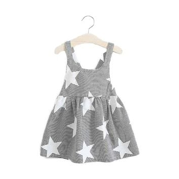toddler girls dress star pattern sleeveless backless beach style baby girl loose clothing costumes cotton summer lovely fashion