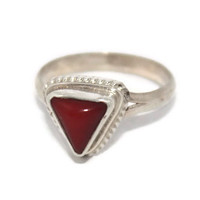 Sterling Silver Ring  Coral Ring Gypsy Ring Tibetan Ring