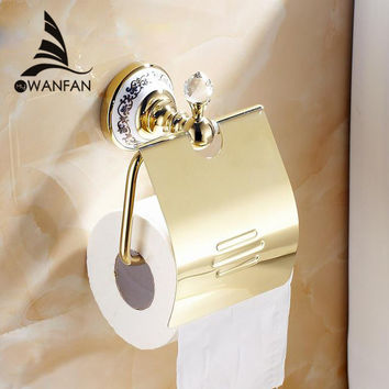 Free shipping Crystal chrome brass wall-mounted paper holder bathroom accessories product toilet paper holder 6310