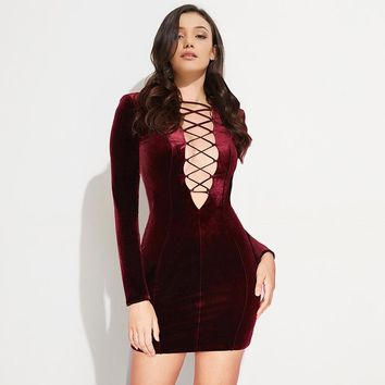 Lace Up  Long Sleeve Mini Dress