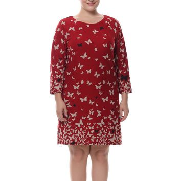 Chicwe Women's Cashmere Touch Plus Size Butterfly Print Dress