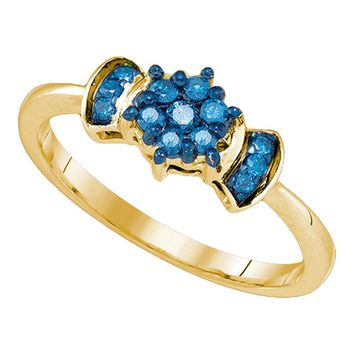 10K Yellow Gold Womens Blue Color Enhanced Round Diamond Flower Cluster Ring 1/4 Cttw