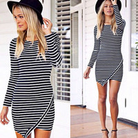 Black and White Striped Asymmetrical Dress