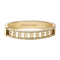 Michael Kors Monogram-Cutout Pave Bangle, Golden