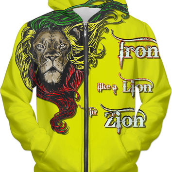 Iron like a Lion, in Zion. Yellow rasta hoodie, Reggae music themed hooded sweatshirt design