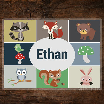 Large Personalised Placemats Forest Woodland Animals Fox Bear Owl Kids Children Wipe Clean Place Mats 297mm x 420mm A3 Printed