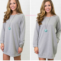 Keep Calm & Carefree Heather Gray Raglan Sweatshirt Dress
