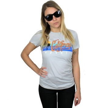 California Republic Palm Trees Ladies Lightweight Fitted T-Shirt